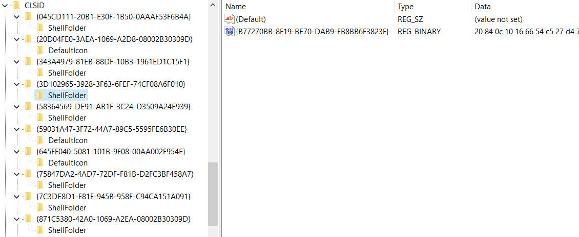 Screenshot of the Registry on a Dridex infected computer