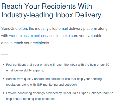 SendGrid Service description, highlighting by the vendor